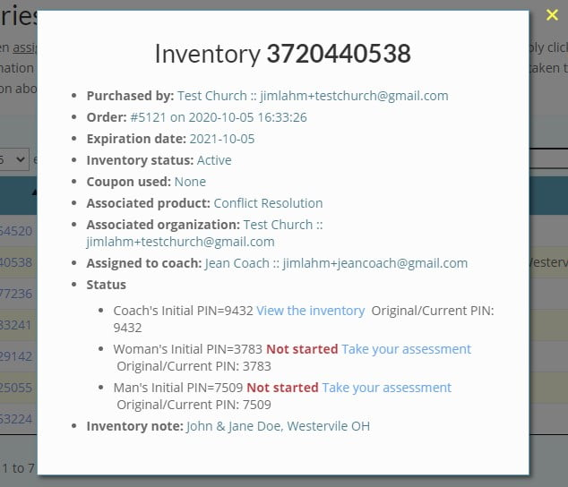 Inventory status popup